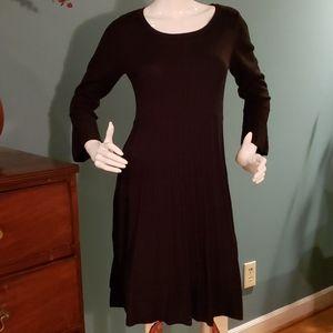 Ellen Tracy Black Knit Sweater Dress Sz Small